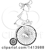 Clipart Of A Cartoon Black And White Moose Riding A Penny Farthing Bicycle Royalty Free Vector Illustration