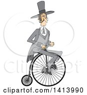 Clipart Of A Cartoon Caucasian Gentleman Riding A Penny Farthing Bicycle Royalty Free Vector Illustration