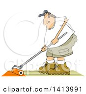 Cartoon Caucasian Man Using A Roller To Stain His Deck