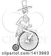 Clipart Of A Cartoon Black And White Gentleman Riding A Penny Farthing Bicycle Royalty Free Vector Illustration by djart