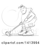 Cartoon Black And White Man Using A Roller To Stain His Deck