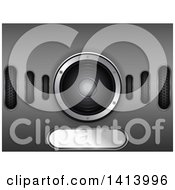 Clipart Of A 3d Music Speaker Background On Metal Royalty Free Vector Illustration
