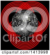 Clipart Of A 3d Silver Music Disco Ball Over Patterns Of Red Circles On Black Royalty Free Vector Illustration