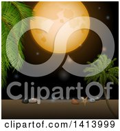 Clipart Of A Full Moon Over A Tropical Beach With Shells A Starfish And Palm Trees Royalty Free Vector Illustration