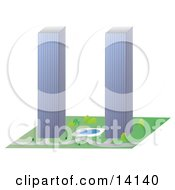 Two Tall Skyscrapers Similar To The Twin Towers Of The World Trade Center Clipart Illustration