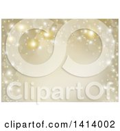 Clipart Of A Background Of Gold Flares And Sparkles Royalty Free Vector Illustration