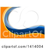 Clipart Of A Background Of Orange And Blue Waves Framing White And Gray Text Space Royalty Free Vector Illustration