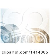 Clipart Of A Background Of City Skyscrapers And Waves Royalty Free Vector Illustration by dero