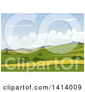 Clipart Of A Landscape Background With A Hilly Valley Royalty Free Vector Illustration