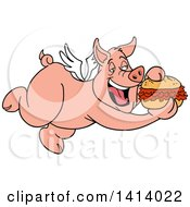 Clipart Of A Cartoon Bbq Winged Pig Flying And Eating A Pulled Pork Sandwich Royalty Free Vector Illustration by LaffToon