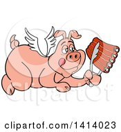 Cartoon Bbq Winged Angel Pig Flying And Holding Spare Ribs In Tongs
