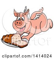 Clipart Of A Cartoon Bbq Winged Pig Flying And Holding Out A Brisket Royalty Free Vector Illustration