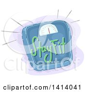 Clipart Of A Body Weight Scale With Stay Fit Text Royalty Free Vector Illustration