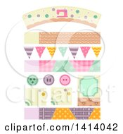 Clipart Of Sewing Themed Design Elements Royalty Free Vector Illustration