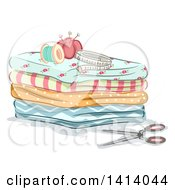 Clipart Of Sewing Items On Top Of Folded Fabric Royalty Free Vector Illustration