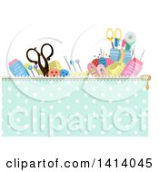 Clipart Of A Header Of Sewing Materials In A Zippered Bag Royalty Free Vector Illustration