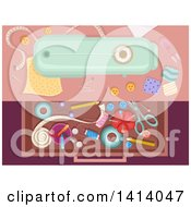 Clipart Of A Drawer Full Of Sewing Materials Royalty Free Vector Illustration