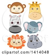 Clipart Of Cute Safari Animal Face Patches Royalty Free Vector Illustration