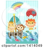 Clipart Of Stitched Sewn Safari Animals Sailing Royalty Free Vector Illustration