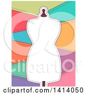 Clipart Of A Frame Of A Mannequin With Sewn Patches Royalty Free Vector Illustration