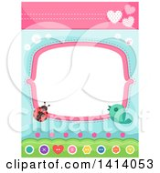 Clipart Of A Frame With A Sewn Ladybug And Bird Royalty Free Vector Illustration