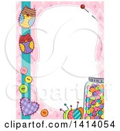 Border Of Colorful Sewing Items And Owl Patches