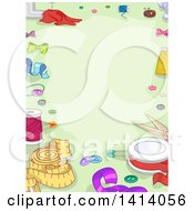 Clipart Of A Border Of Sewing Items On Green Royalty Free Vector Illustration