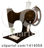 Clipart Of A Vintage Floral Sewing Machine Royalty Free Vector Illustration