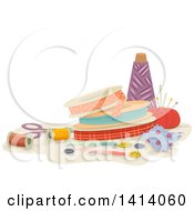 Clipart Of Ribbons And Sewing Items Royalty Free Vector Illustration