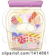 Clipart Of A Jar Of Fabric Strips Royalty Free Vector Illustration