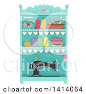 Clipart Of A Shelf With Organized Sewing Items Royalty Free Vector Illustration