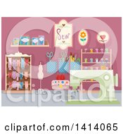 Clipart Of A Hobby Sewing Room Royalty Free Vector Illustration