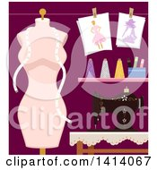 Clipart Of A Mannequin And Sewing Machine With Fashion Design Materials Royalty Free Vector Illustration by BNP Design Studio