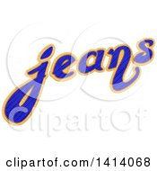 Clipart Of The Word Jeans Royalty Free Vector Illustration by BNP Design Studio