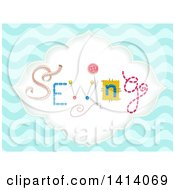 Clipart Of The Word Sewing Made Of Notions In A Frame Over Blue Waves Royalty Free Vector Illustration by BNP Design Studio