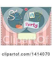 Clipart Of A Sewing Party Invitation Design With Notions Over Pink Stripes Royalty Free Vector Illustration