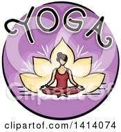 Purple Lotus And Woman Yoga Icon