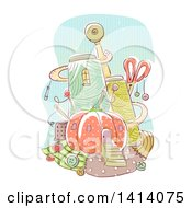 Clipart Of A Sketched Sewing Material Castle Royalty Free Vector Illustration