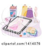 Sketch Of A Dress On A Tablet Computer Surrounded By Sewing Items