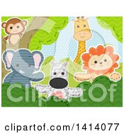Clipart Of A Scene Of Sewn Stitched Safari Animals Royalty Free Vector Illustration by BNP Design Studio