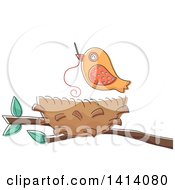 Clipart Of A Bird Using A Needle To Sew His Nest Royalty Free Vector Illustration