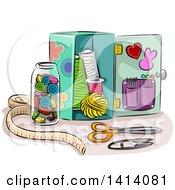 Clipart Of A Sketched Box And A Jar Full Of Sewing Materials Royalty Free Vector Illustration by BNP Design Studio