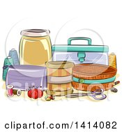 Sketched Still Life Of Sewing Organization Containers