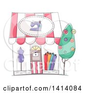Clipart Of A Sketched Dress Shop Store Front Royalty Free Vector Illustration