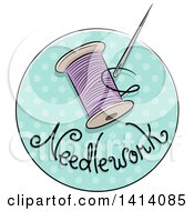 Sketched Needlework Icon With A Needle And Thread