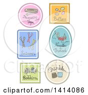 Sketched Sewing Labels Or Icons