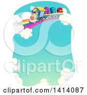 Clipart Of A Letter Alphabet Train On A Rainbow Track In The Sky Royalty Free Vector Illustration