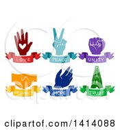 Clipart Of Love Peace Unity Respect Hope And Trust Value Hands With Ribbon Banners Royalty Free Vector Illustration