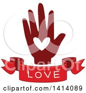 Clipart Of A Red Hand With A Love Text Banner Royalty Free Vector Illustration
