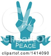 Clipart Of A Blue Hand With A Peace Text Banner Royalty Free Vector Illustration by BNP Design Studio